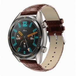 Коричневый крокодиловый кожаный ремешок для Huawei Watch GT / GT2 0002-02-2