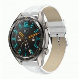Белый крокодиловый кожаный ремешок для Huawei Watch GT / GT2 0002-02-5