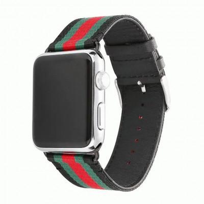 Черный кожаный ремешок с красно-зелеными полосками для Apple Watch 0004-01-1
