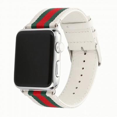 Белый кожаный ремешок с красно-зелеными полосками для Apple Watch 0004-01-2