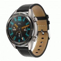 Черный кожаный ремешок с белой строчкой для Huawei Watch GT / GT2 0005-02-1