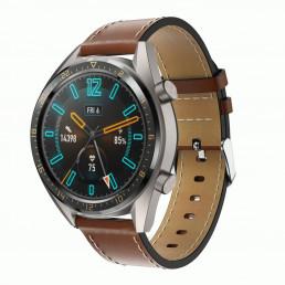 Коричневый кожаный ремешок с белой строчкой для Huawei Watch GT / GT2 0005-02-2