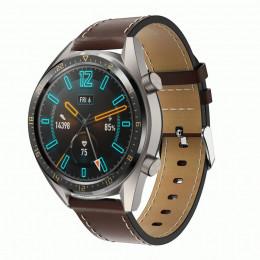 Кофейный кожаный ремешок с белой строчкой для Huawei Watch GT / GT2 0005-02-3