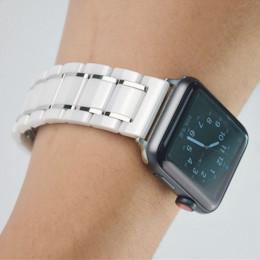 Белый с серебряным керамический ремешок для Apple Watch 0006-01-2