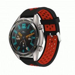 Черно-красный силиконовый перфорированный ремешок для Huawei Watch GT / GT2 0007-02-1