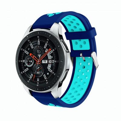 Сине-голубой силиконовый перфорированный ремешок для Huawei Watch GT / GT2 0007-02-10