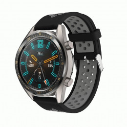 Черно-серый силиконовый перфорированный ремешок для Huawei Watch GT / GT2 0007-02-2