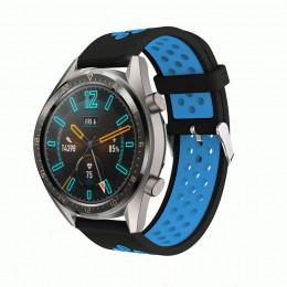 Черно-синий силиконовый перфорированный ремешок для Huawei Watch GT / GT2 0007-02-3