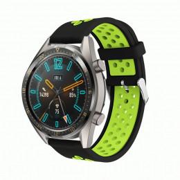 Черно-зеленый силиконовый перфорированный ремешок для Huawei Watch GT / GT2 0007-02-4