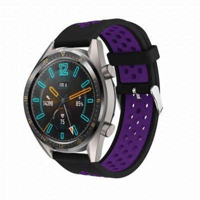 Черно-фиолетовый силиконовый перфорированный ремешок для Huawei Watch GT / GT2 0007-02-5 - купить в интернет-магазине Handband.ru