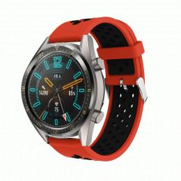 Красно-черный силиконовый перфорированный ремешок для Huawei Watch GT / GT2 0007-02-6