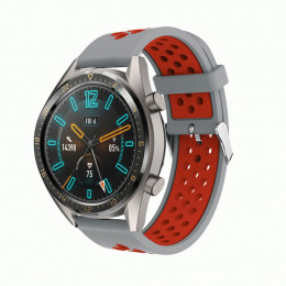 Серо-красный силиконовый перфорированный ремешок для Huawei Watch GT / GT2 0007-02-7