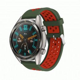 Зелено-красный силиконовый перфорированный ремешок для Huawei Watch GT / GT2 0007-02-8