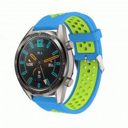 Сине-зеленый силиконовый перфорированный ремешок для Huawei Watch GT / GT2 0007-02-9