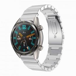 Серебряный блочный ремешок из нержавеющей стали для Huawei Watch GT / GT2 0008-02-3