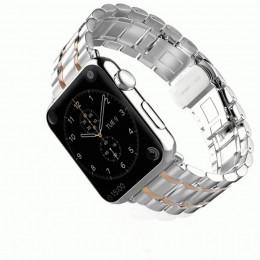 Серебряный с розовым металлический ремешок для Apple Watch 0009-01-4