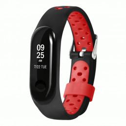 Черно-красный перфорированный силиконовый ремешок для Xiaomi Mi Band 3/4 0009-03-1