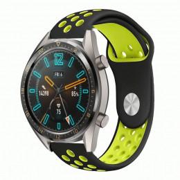 Черно-зеленый силиконовый перфорированный ремешок для Huawei Watch GT / GT2 0012-02-2