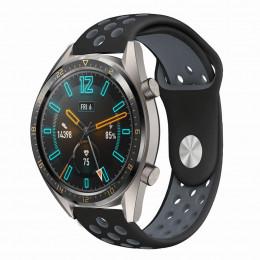Черно-серый силиконовый перфорированный ремешок для Huawei Watch GT / GT2 0012-02-3