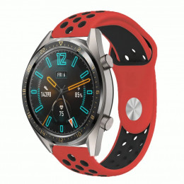 Красно-черный силиконовый перфорированный ремешок для Huawei Watch GT / GT2 0012-02-4