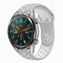 Серо-белый силиконовый перфорированный ремешок для Huawei Watch GT / GT2 0012-02-5