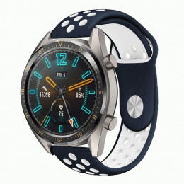 Сине-белый силиконовый перфорированный ремешок для Huawei Watch GT / GT2 0012-02-6