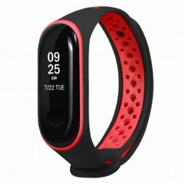Черно-красный перфорированный силиконовый ремешок для Xiaomi Mi Band 3/4 0012-03-1