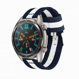 Сине-белый нейлоновый полосатый ремешок для Huawei Watch GT / GT2 0014-02-1