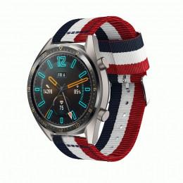 Сине-бело-красный нейлоновый полосатый ремешок для Huawei Watch GT / GT2 0014-02-2