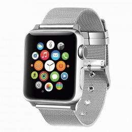 Серебряный тонкий металлический ремешок для Apple Watch 0016-01-1
