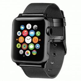 Черный тонкий металлический ремешок для Apple Watch 0016-01-3