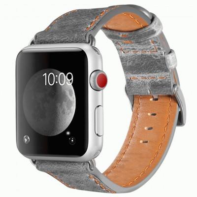 Серый кожаный ремешок для Apple Watch 0017-01-1