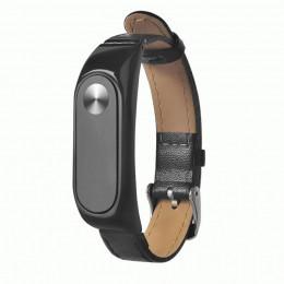 Черный классический кожаный ремешок для Xiaomi Mi Band 2 0020-03-4