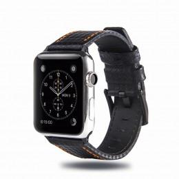 Черный кожаный ремешок с оранжевой строчкой для Apple Watch 0025-01-2