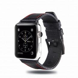 Черный кожаный ремешок с красной строчкой для Apple Watch 0025-01-3