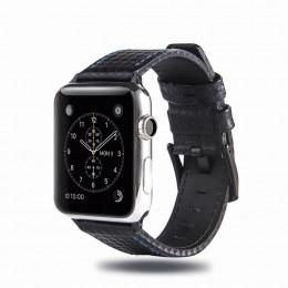 Черный кожаный ремешок с синей строчкой для Apple Watch 0025-01-4