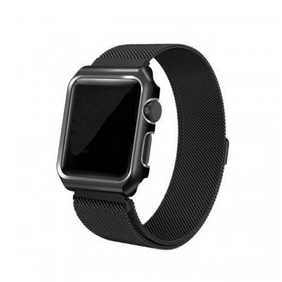 Черный миланский магнитный ремешок с корпусом для Apple Watch 0026-01-1