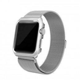 Серебряный миланский магнитный ремешок с корпусом для Apple Watch 0026-01-2