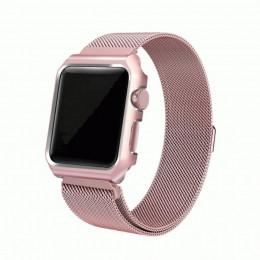 Розовый миланский магнитный ремешок с корпусом для Apple Watch 0026-01-4