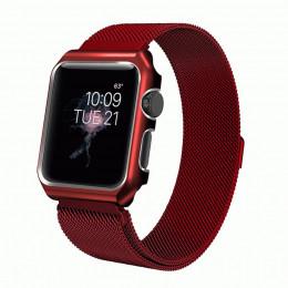 Красный миланский магнитный ремешок с корпусом для Apple Watch 0026-01-6