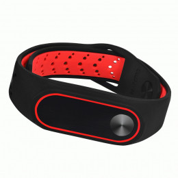 Черно-красный силиконовый перфорированный спортивный ремешок с красным ободком для Xiaomi Mi Band 2 0026-03-1