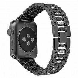 Черный металлический ремешок со стразами для Apple Watch 0034-01-1