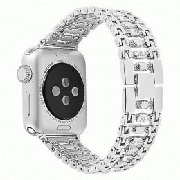 Серебряный металлический ремешок со стразами для Apple Watch 0034-01-2
