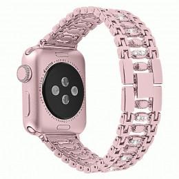Розовый металлический ремешок со стразами для Apple Watch 0034-01-4
