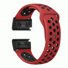 Красно-черный перфорированный силиконовый ремешок для Garmin Fenix 5 0034-02-4