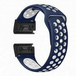 Сине-белый  перфорированный силиконовый ремешок для Garmin Fenix 5/5 plus/6 0034-02-6