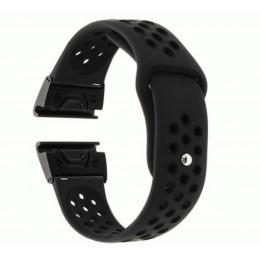 Черный перфорированный силиконовый ремешок для Garmin Fenix 5/5 plus/6 0034-02-7