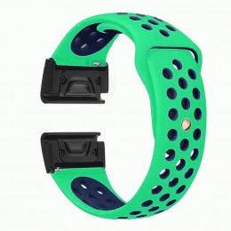 Зелено-синий перфорированный силиконовый ремешок для Garmin Fenix 5/5 plus/6 0034-02-8