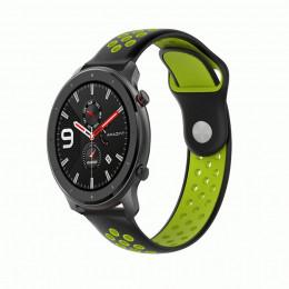Черно-зеленый силиконовый перфорированный ремешок для Xiaomi Amazfit GTR 42/47мм 0034-03-4