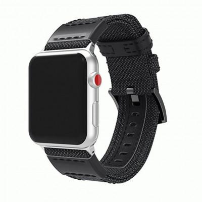 Черный кожаный нейлоновый ремешок для Apple Watch 0035-01-1
